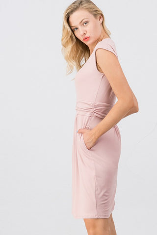 Blush Cap Sleeve Jersey Dress