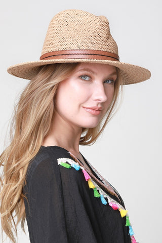 Panama Hat with Double Leather Strap Detail