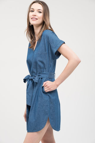 Vneck Denim Dress