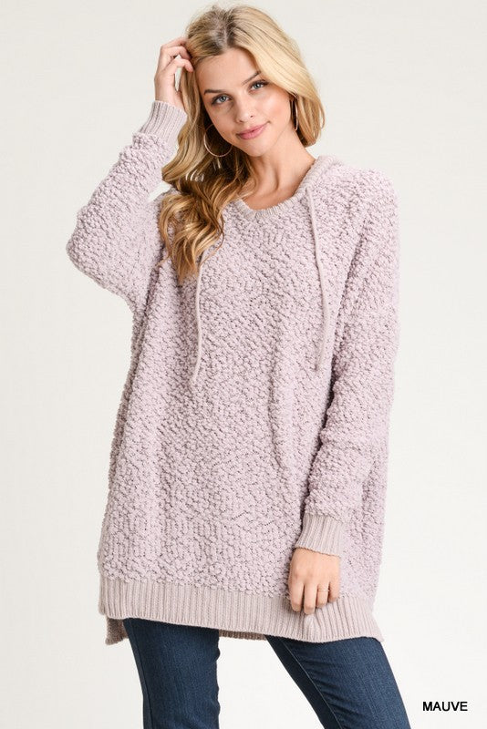 Mauve Fluffy Hooded Pullover