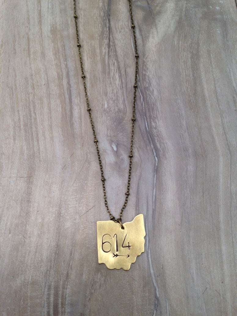 Long 614 Stamped Necklace - Brass