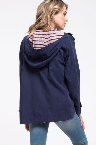 Navy Hooded Utility Jacket