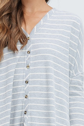 Striped Rib Knit Button Down Top