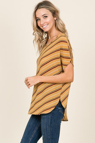 Mustard Striped Vneck Top