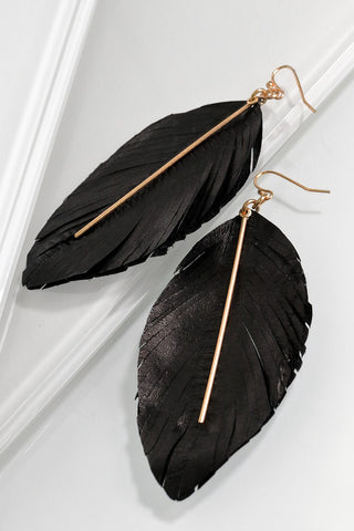 Leather Feather Drop Earrings