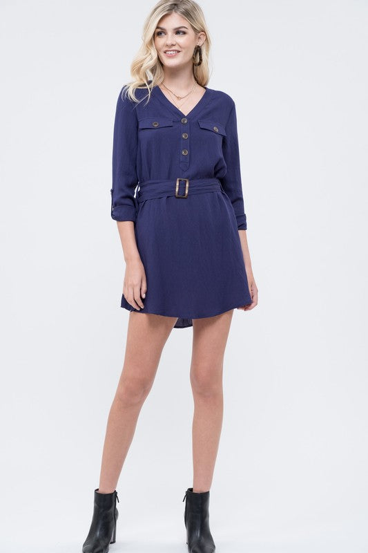 Navy Belted Dress