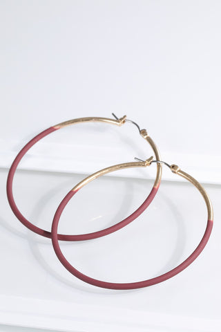 Plum & Gold Two Tone Hoop Earrings