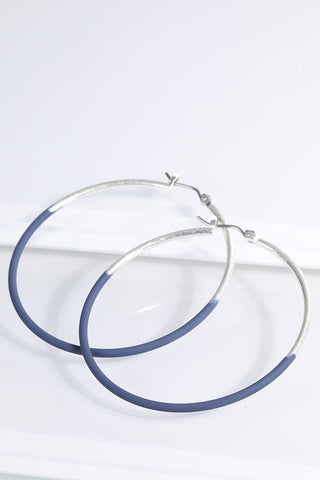 Navy & Silver Two Tone Hoop Earrings