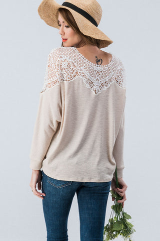 Lace Shoulder Dolman Knit Top