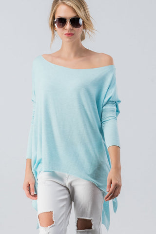 Raw Hem Off the Shoulder Tunic