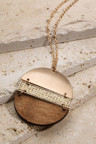 Rattan and Wood Circle Necklace