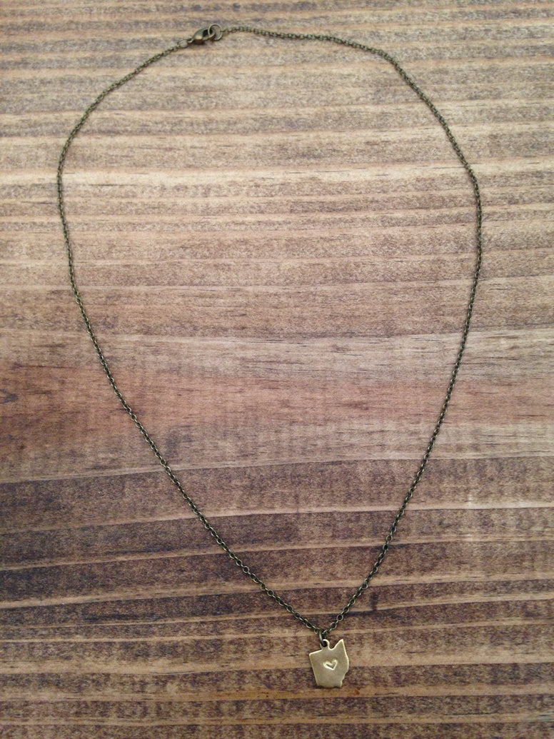 Heart Stamped Ohio Necklace