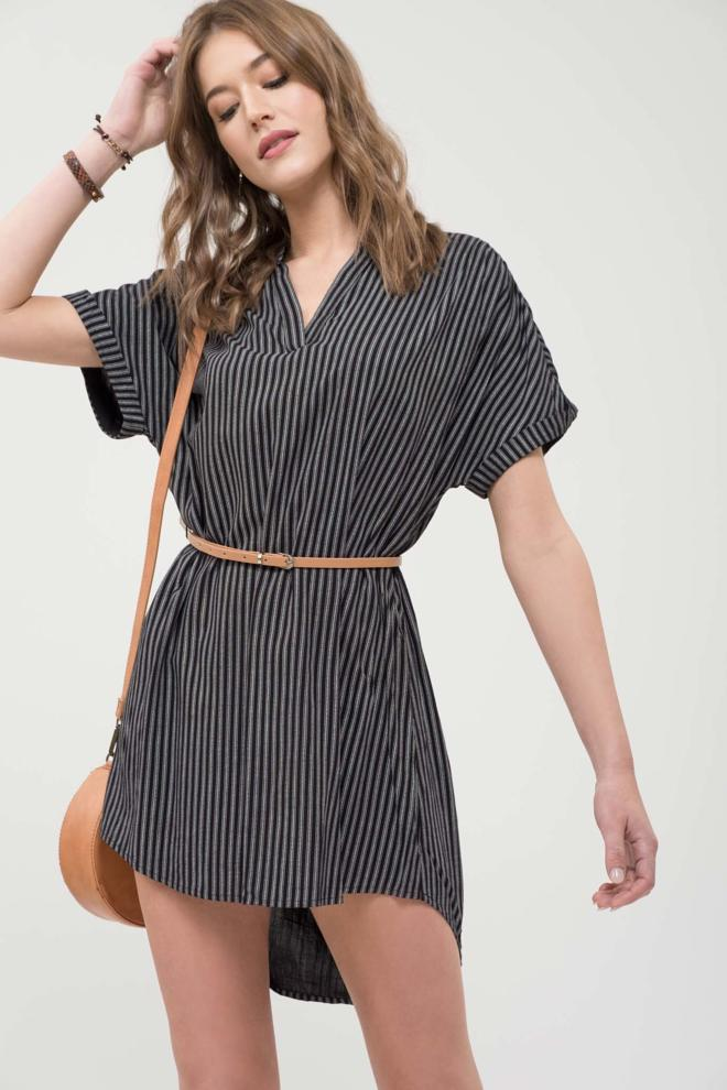 Cuffed Sleeve Striped Dress
