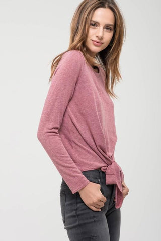 Berry Front Tie Knit Top