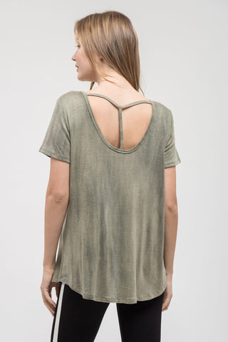 Criss Cross Olive Mineral Wash Top