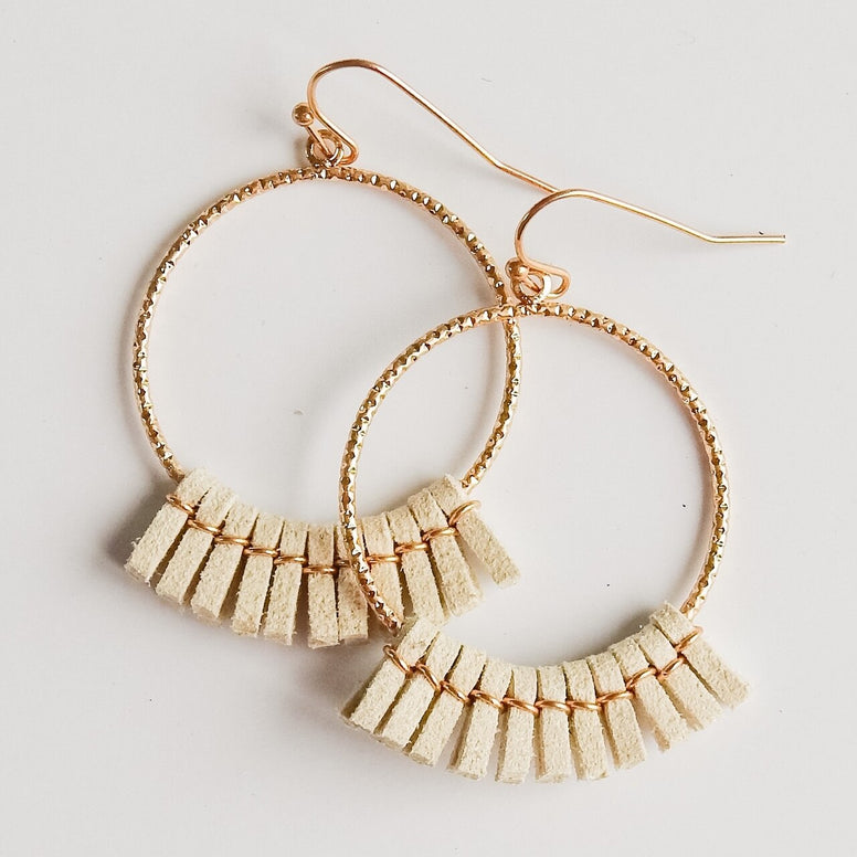 Ivory Suede Fringe Earrings