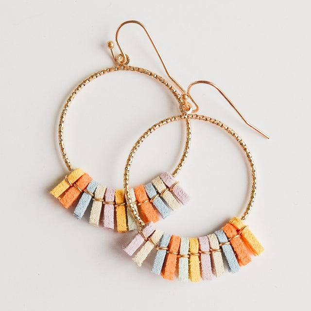 Multi Colored Suede Fringe Earrings
