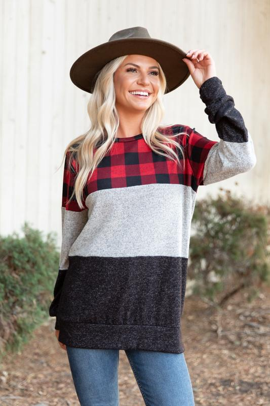 Plaid Hacci Colorblock Knit Top