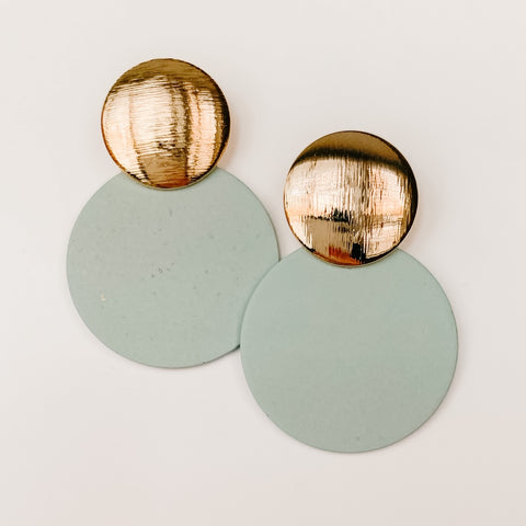 Double Circle Drop Earrings - Slate Mint