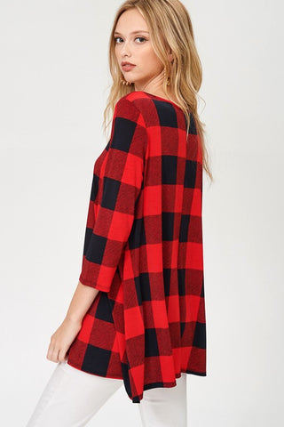Criss Cross Plaid Top