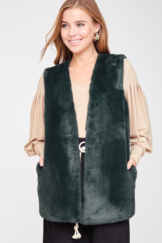 Hunter Green Faux Fur Vest