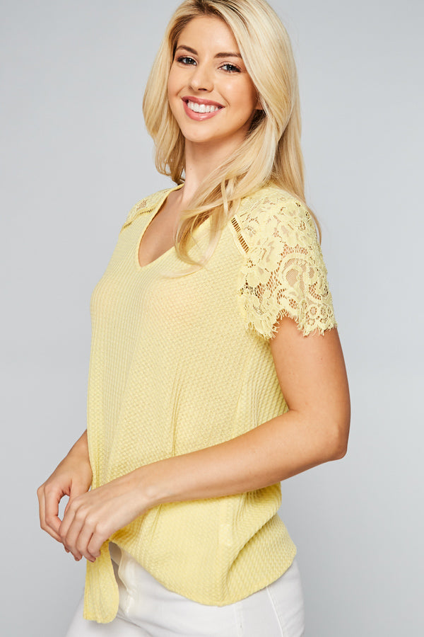 Yellow Waffle Lace Tie Top