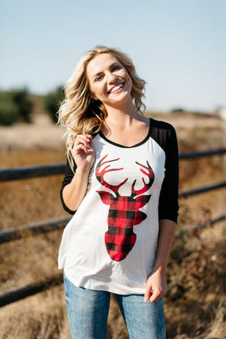 Plaid Deer Baseball Tee