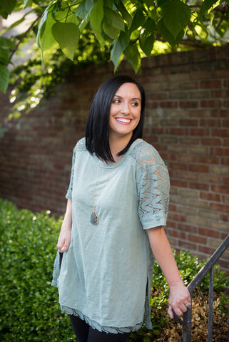 Dusty Mint Crochet Tunic