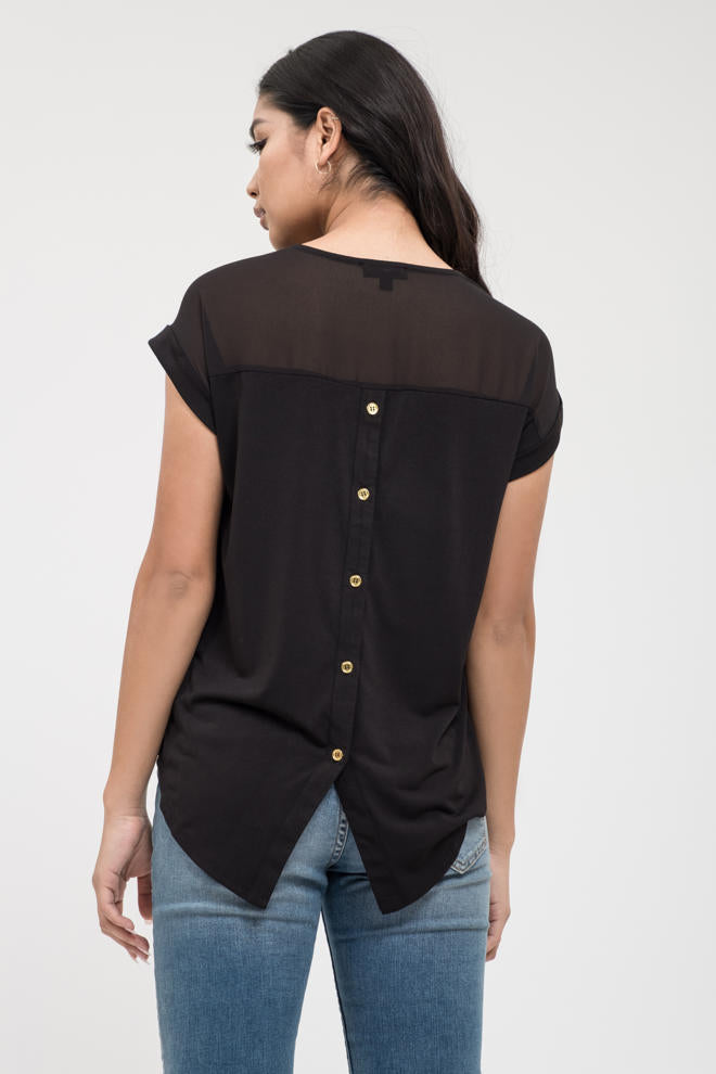 Black Button Back Top