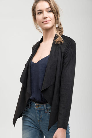 Black Suede Waterfall Jacket