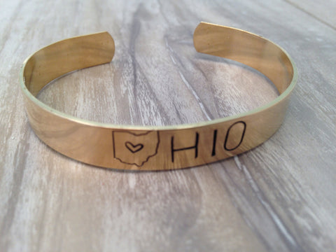 Ohio Stamped Cuff - Brass