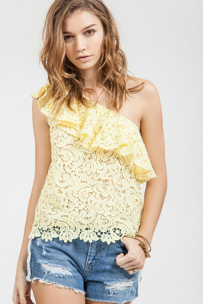 Off the Shoulder Ruffle Lace Tank