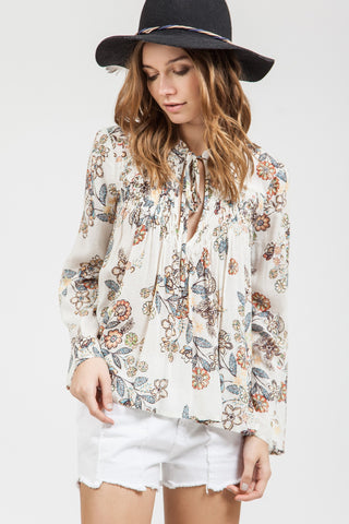 Front Tie Floral Knit Top