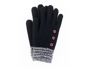 Black Super Soft Button Gloves