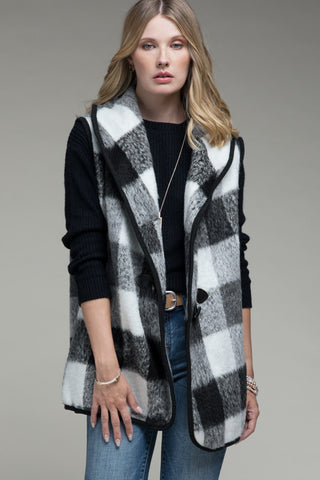 Black and White Buffalo Check Vest