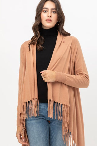 Clay Wrap Fringe Sweater