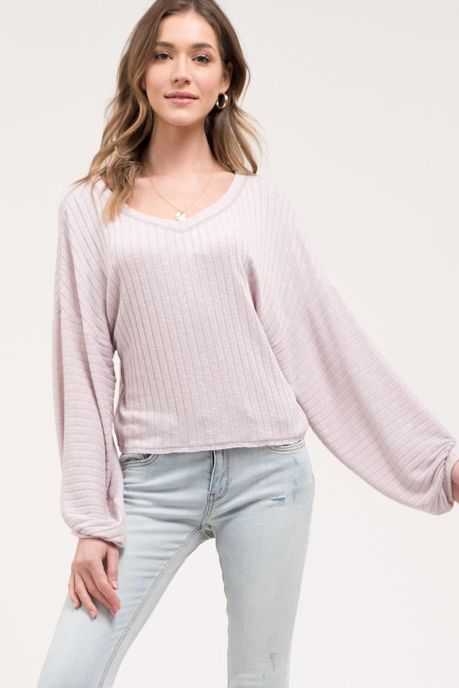 Lilac Slouchy Sleeve Top