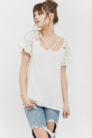 Lace Waffle Knit Top