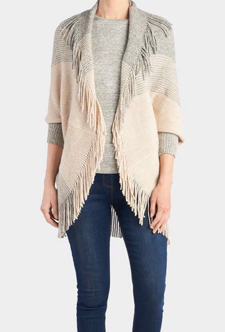 Colorblock Fringe Cardigan