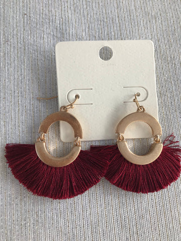 Rust Fringe Fan Earrings