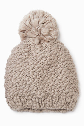 Taupe Yarn Knit Pom Pom Hat