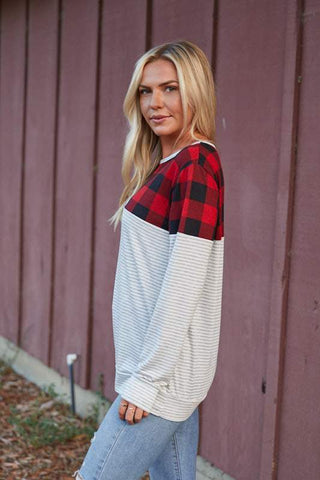 Plaid and Striped Colorblock Top