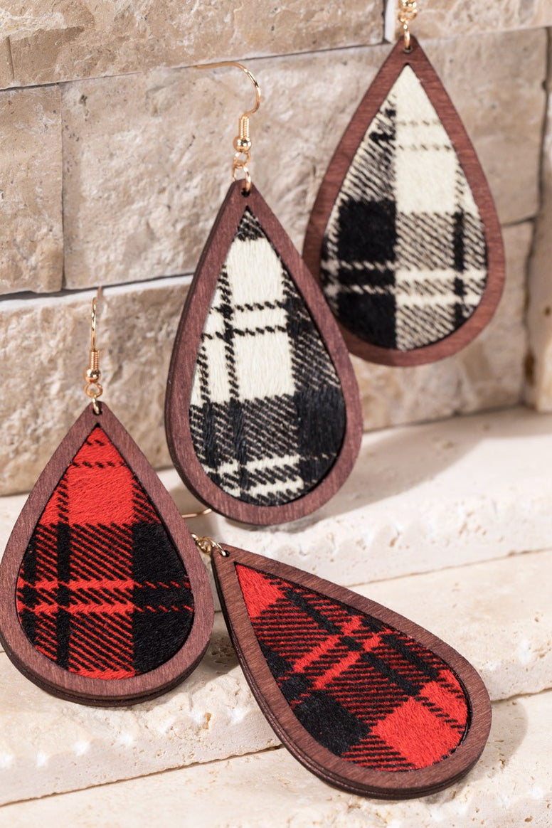 Buffalo Check Teardrop Earrings