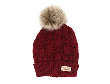 Red Knit Pom Pom Hat