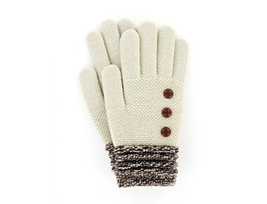 Oatmeal Super Soft Button Gloves