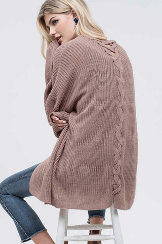 Back Lace Up Taupe Knit Cardigan