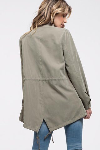 Brushed Olive Utility Jacket