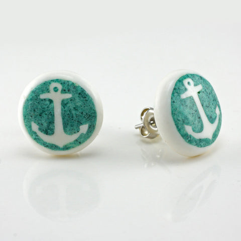 Turquoise Anchor MAKERPin Studs