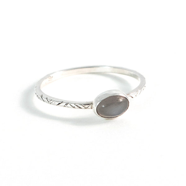 Graphite Moon Ring