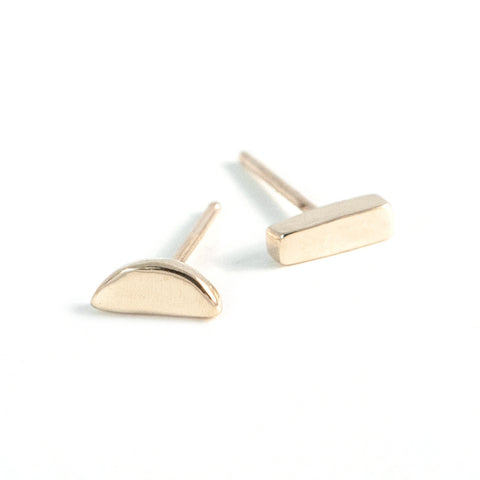 Tiny Mismatched Earrings in 14K Yellow Gold